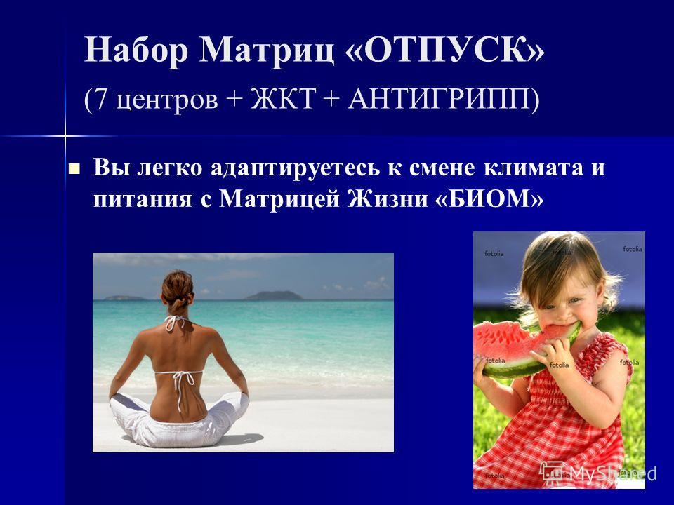 Набор Матриц «ОТПУСК» (7 центров + ЖКТ + АНТИГРИПП) Вы легко адаптируетесь к смене климата и питания с Матрицей Жизни «БИОМ»