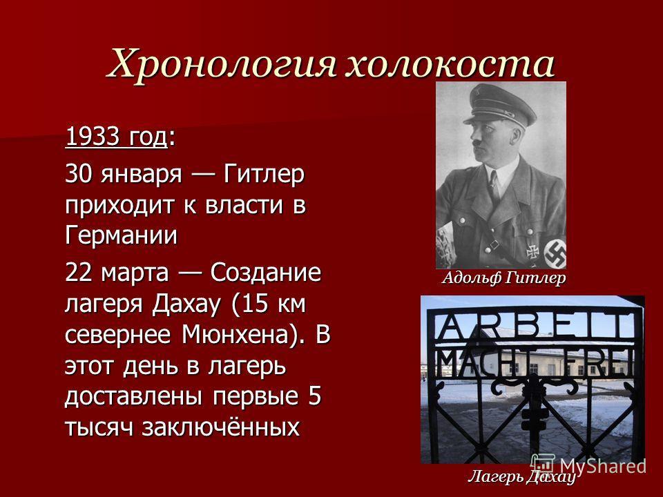 Хронология холокоста 1933 год: 30 января Гитлер приходит к власти в Германии 22 марта Создание лагеря Дахау (15 км севернее Мюнхена). В этот день в лагерь доставлены первые 5 тысяч заключённых Адольф Гитлер Лагерь Дахау