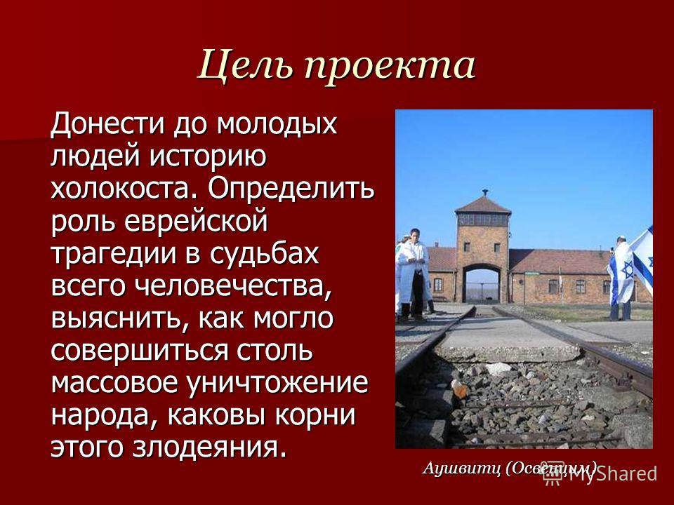 Цель проекта Донести до молодых людей историю холокоста. Определить роль еврейской трагедии в судьбах всего человечества, выяснить, как могло совершиться столь массовое уничтожение народа, каковы корни этого злодеяния. Аушвитц (Освенцим)