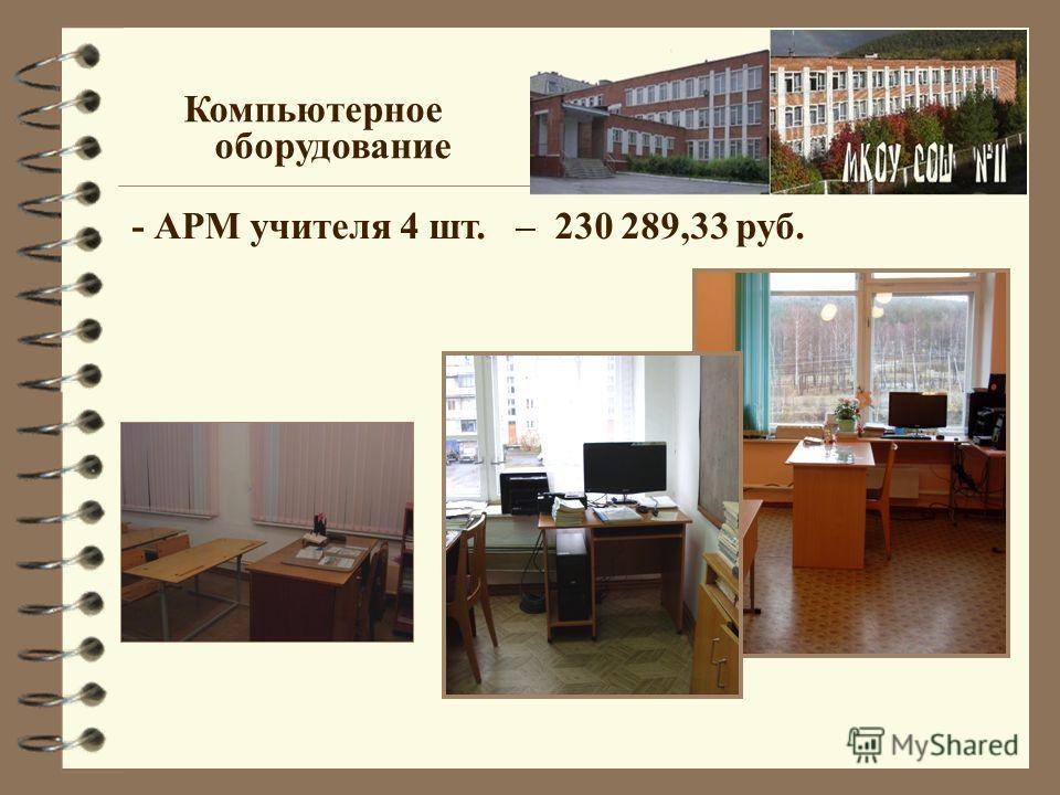 Компьютерное оборудование - АРМ учителя 4 шт. – 230 289,33 руб.