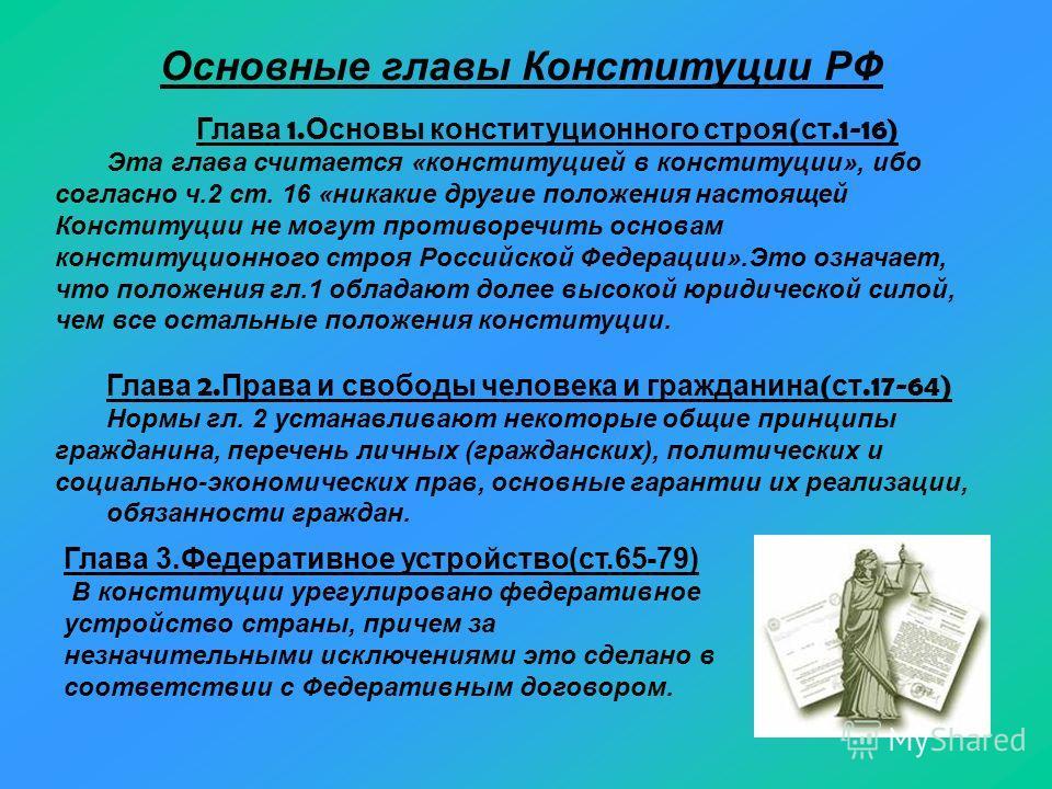 Основные г лавы К онституции Р Ф Глава 1. Основы конституционного строя ( ст.1-16) Эта глава считается «конституцией в конституции», ибо согласно ч.2 ст. 16 «никакие другие положения настоящей Конституции не могут противоречить основам конституционно