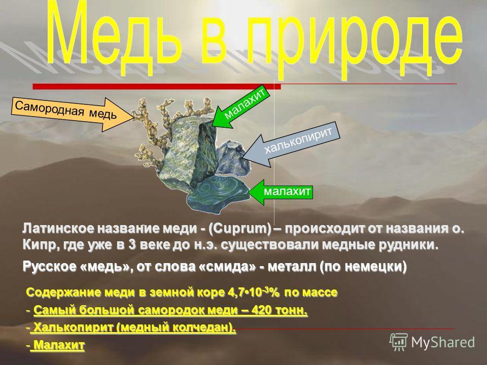 Латинское название меди - (Cuprum) – происходит от названия о. Кипр, где уже в 3 веке до н.э. существовали медные рудники. Русское «медь», от слова «смида» - металл (по немецки) Содержание меди в земной коре 4,710 -3 % по массе - Самый большой саморо