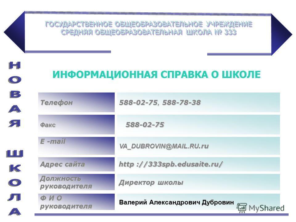 ГОСУДАРСТВЕННОЕ ОБЩЕОБРАЗОВАТЕЛЬНОЕ УЧРЕЖДЕНИЕ СРЕДНЯЯ ОБЩЕОБРАЗОВАТЕЛЬНАЯ ШКОЛА 333 Адрес сайта http ://333spb.edusaite.ru/ Телефон 588-02-75, 588-78-38 Факс 588-02-75 588-02-75 Е -mail VA_DUBROVIN@MAIL.RU.ru Должность руководителя Директор школы Ф