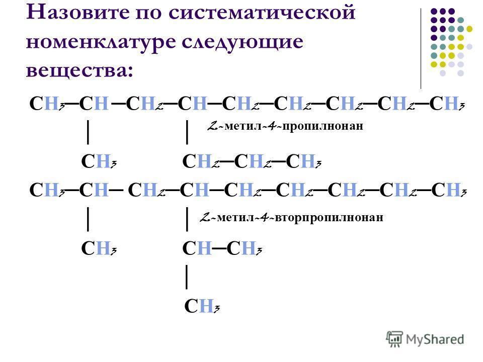 Назовите по систематической номенклатуре следующие вещества: СН 3 СН СН 2 СНСН 2 СН 2 СН 2 СН 2 СН 3 СН 3 СН 2 СН 2 СН 3 СН 3 СН СН 2 СНСН 2 СН 2 СН 2 СН 2 СН 3 СН 3 СНСН 3 СН 3 2- метил -4- пропилнонан 2- метил -4- вторпропилнонан