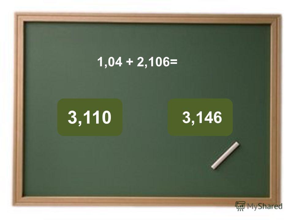 3,146 3,110 ОШИБКА! Этот текст выводится при ошибке. ПРАВИЛЬНО! Этот текст выводится при правильном ответе. 1,04 + 2,106=