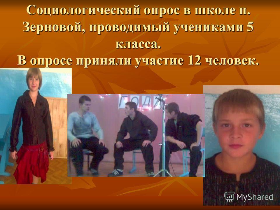 Социологический опрос в школе п. Зерновой, проводимый учениками 5 класса. В опросе приняли участие 12 человек.