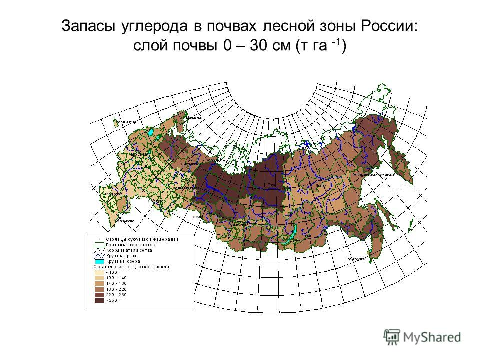 Запасы углерода в почвах лесной зоны России: слой почвы 0 – 30 см (т га -1 )