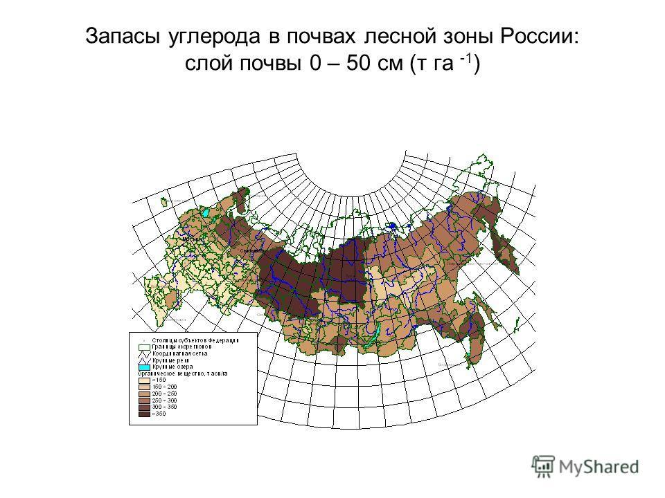 Запасы углерода в почвах лесной зоны России: слой почвы 0 – 50 см (т га -1 )