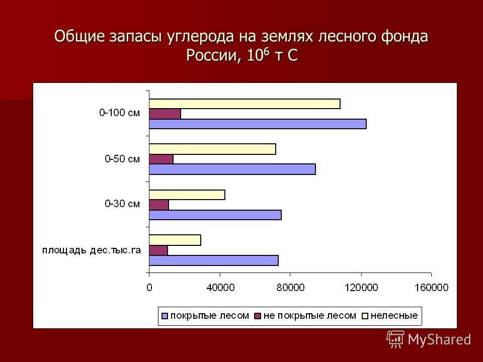 Общие запасы углерода на землях лесного фонда России, 10 6 т C