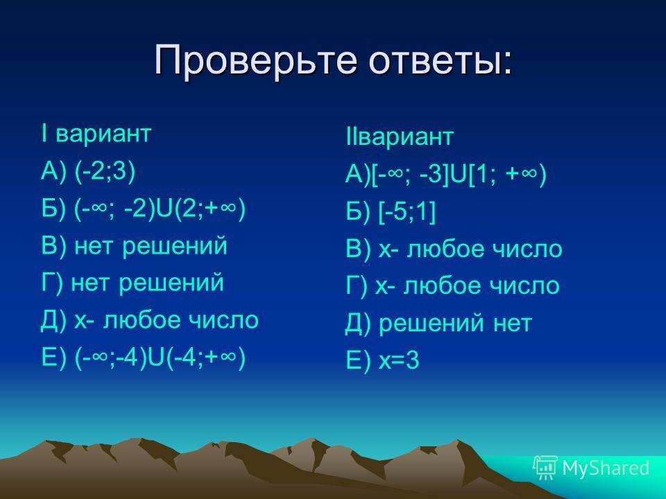 Проверьте ответы: I вариант А) (-2;3) Б) (-; -2)U(2;+) В) нет решений Г) нет решений Д) х- любое число Е) (-;-4)U(-4;+) IIвариант А)[-; -3]U[1; +) Б) [-5;1] В) х- любое число Г) х- любое число Д) решений нет Е) х=3