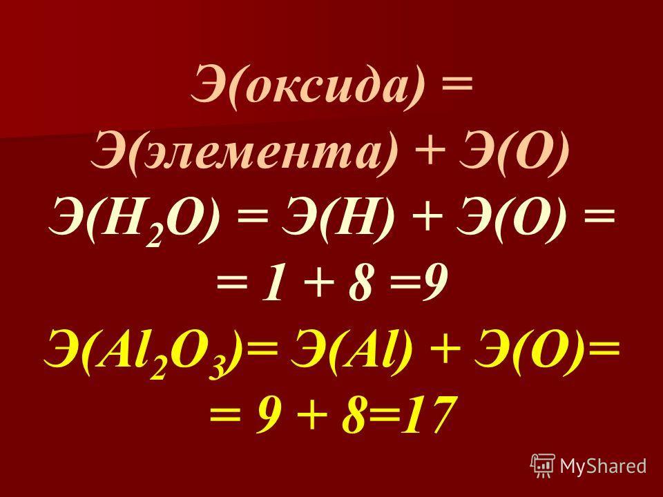 Э(оксида) = Э(элемента) + Э(О) Э(Н 2 О) = Э(Н) + Э(О) = = 1 + 8 =9 Э(Al 2 O 3 )= Э(Al) + Э(O)= = 9 + 8=17