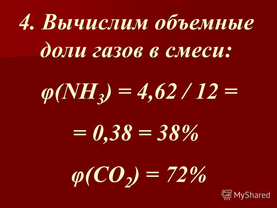 4. Вычислим объемные доли газов в смеси: φ(NH 3 ) = 4,62 / 12 = = 0,38 = 38% φ(CO 2 ) = 72%