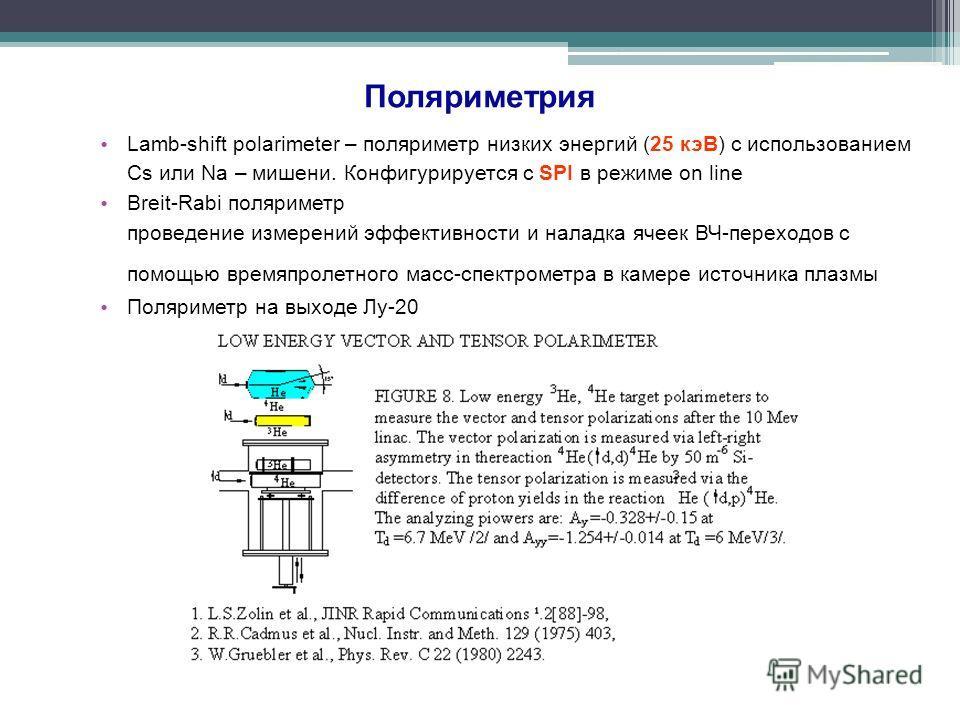 Поляриметрия Lamb-shift polarimeter – поляриметр низких энергий (25 кэВ) с использованием Cs или Na – мишени. Конфигурируется с SPI в режиме on line Breit-Rabi поляриметр проведение измерений эффективности и наладка ячеек ВЧ-переходов с помощью время