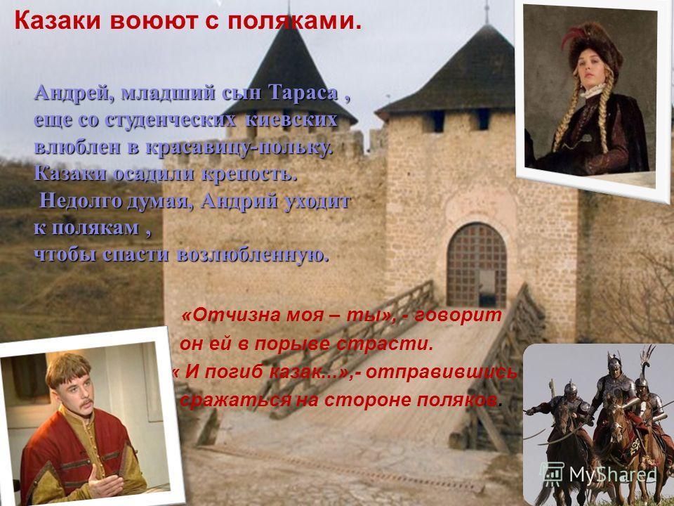«Отчизна моя – ты», - говорит он ей в порыве страсти. « И погиб казак...»,- отправившись сражаться на стороне поляков. Казаки воюют с поляками. Андрей, младший сын Тараса, еще со студенческих киевских влюблен в красавицу-польку. Казаки осадили крепос