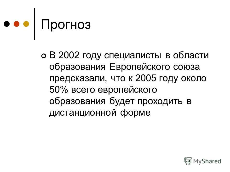Прогноз В 2002 году специалисты в области образования Европейского союза предсказали, что к 2005 году около 50% всего европейского образования будет проходить в дистанционной форме