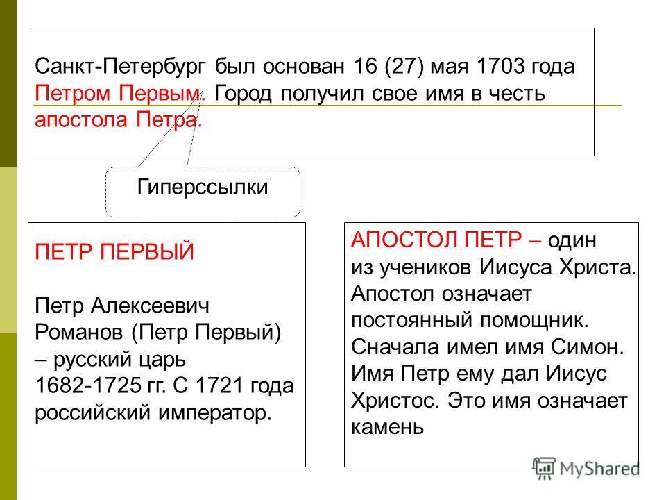 Санкт-Петербург был основан 16 (27) мая 1703 года Петром Первым. Город получил свое имя в честь апостола Петра. ПЕТР ПЕРВЫЙ Петр Алексеевич Романов (Петр Первый) – русский царь 1682-1725 гг. С 1721 года российский император. АПОСТОЛ ПЕТР – один из уч