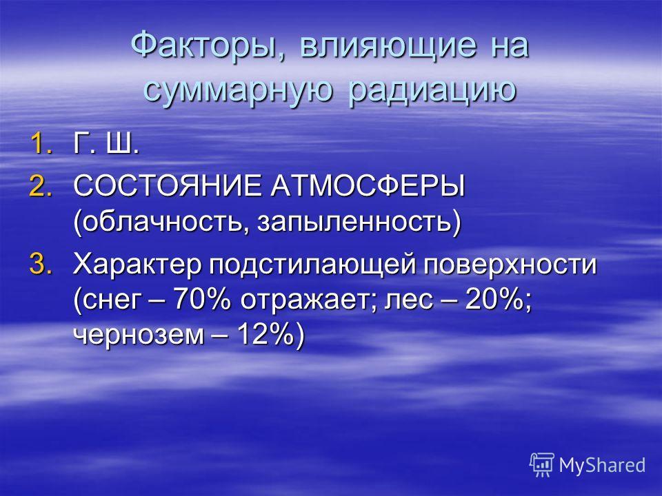 Факторы, влияющие на суммарную радиацию 1.Г. Ш. 2.СОСТОЯНИЕ АТМОСФЕРЫ (облачность, запыленность) 3.Характер подстилающей поверхности (снег – 70% отражает; лес – 20%; чернозем – 12%)