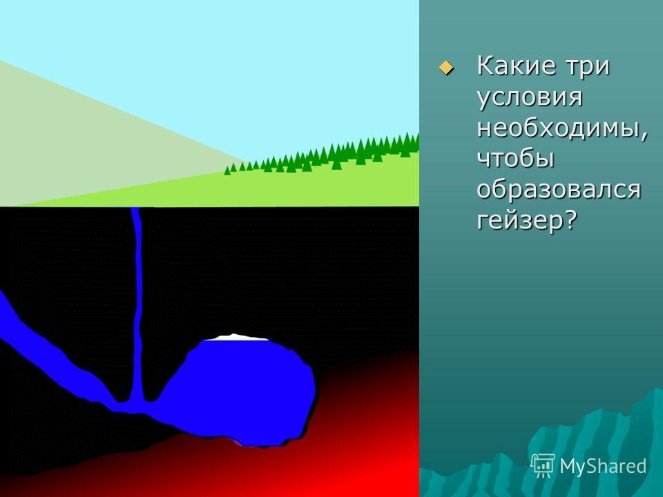 Какие три условия необходимы, чтобы образовался гейзер? Какие три условия необходимы, чтобы образовался гейзер?