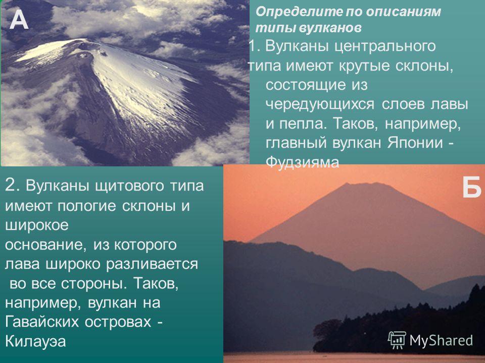 Определите по описаниям типы вулканов 1. Вулканы центрального типа имеют крутые склоны, состоящие из чередующихся слоев лавы и пепла. Таков, например, главный вулкан Японии - Фудзияма 2. Вулканы щитового типа имеют пологие склоны и широкое основание,