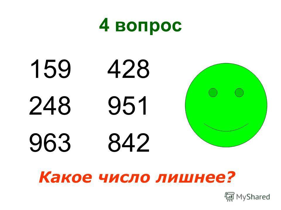 4 вопрос 159 428 248 951 963 842 Какое число лишнее?