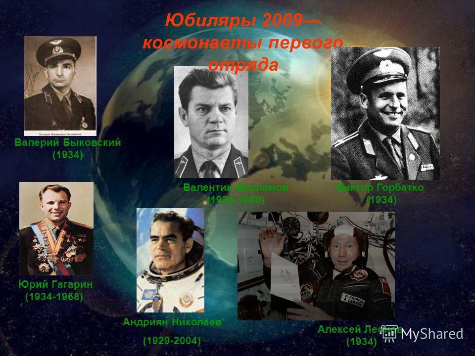 Юбиляры 2009 космонавты первого отряда Валерий Быковский (1934) Валентин Варламов (1934-1980) Юрий Гагарин (1934-1968) Виктор Горбатко (1934) Алексей Леонов (1934) Андриян Николаев (1929-2004)