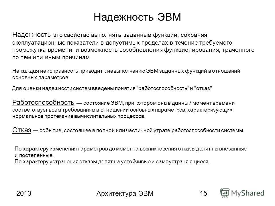 2013Архитектура ЭВМ15 Надежность ЭВМ Надежность это свойство выполнять заданные функции, сохраняя эксплуатационные показатели в допустимых пределах в течение требуемого промежутка времени, и возможность возобновления функционирования, траченного по т