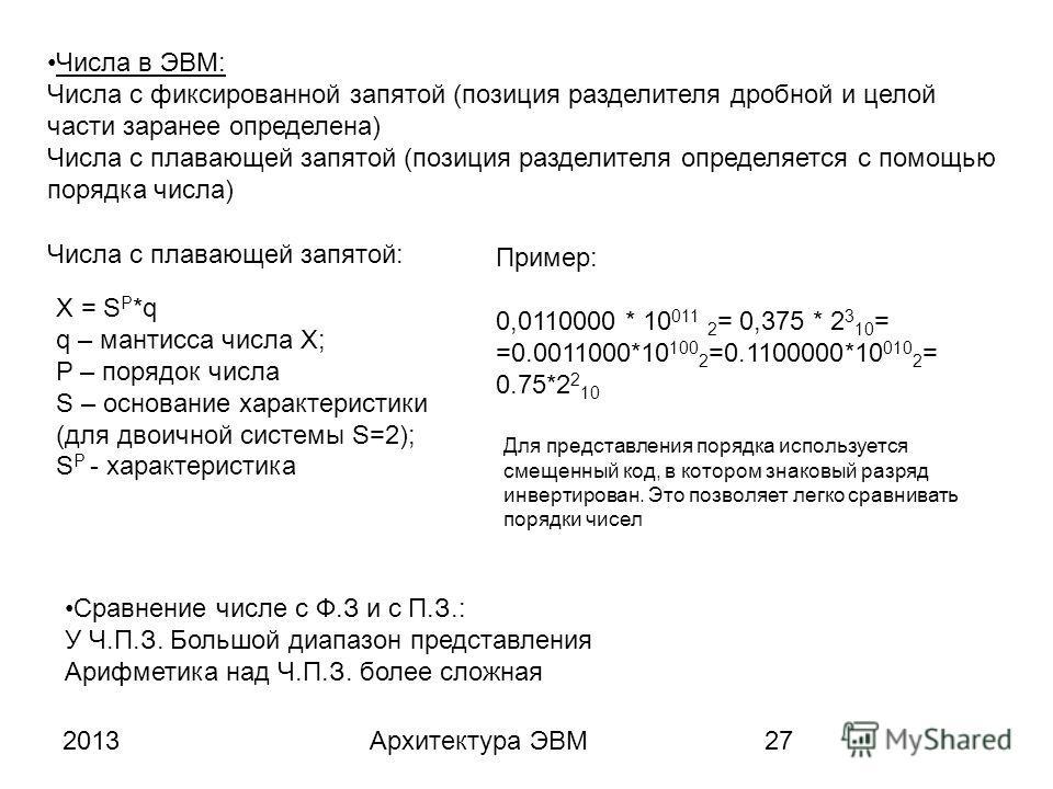 2013Архитектура ЭВМ27 Числа в ЭВМ: Числа с фиксированной запятой (позиция разделителя дробной и целой части заранее определена) Числа с плавающей запятой (позиция разделителя определяется с помощью порядка числа) Числа с плавающей запятой: X = S P *q