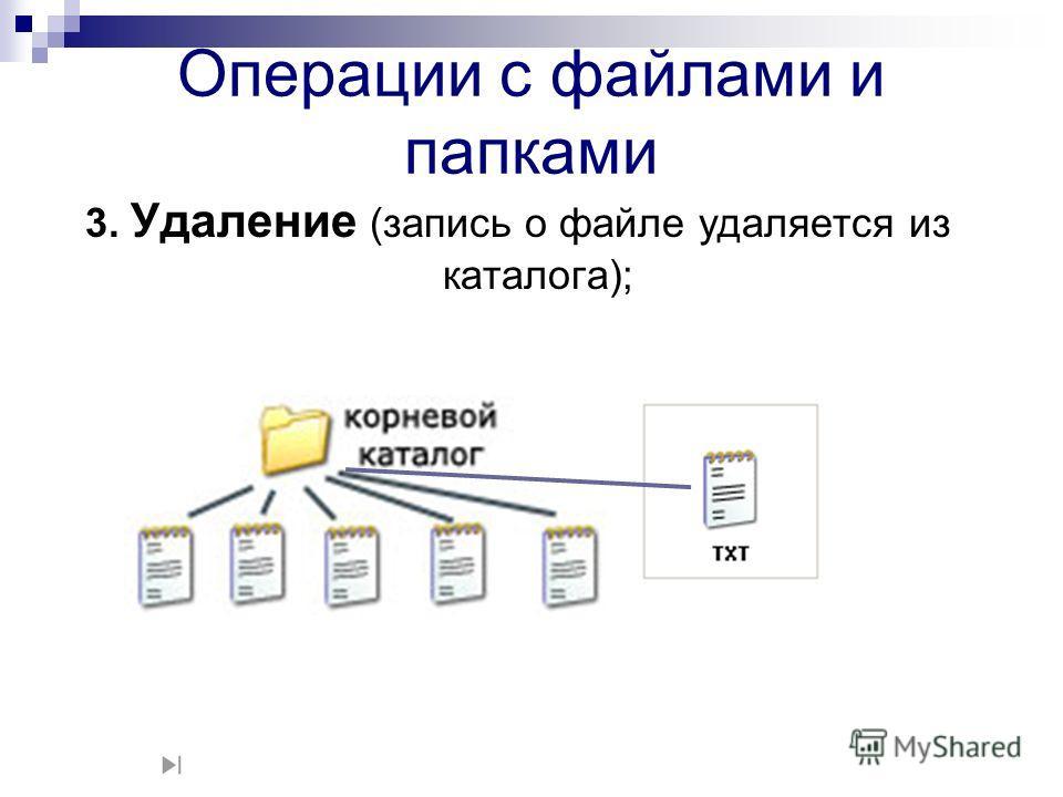 3. Удаление (запись о файле удаляется из каталога); Операции с файлами и папками