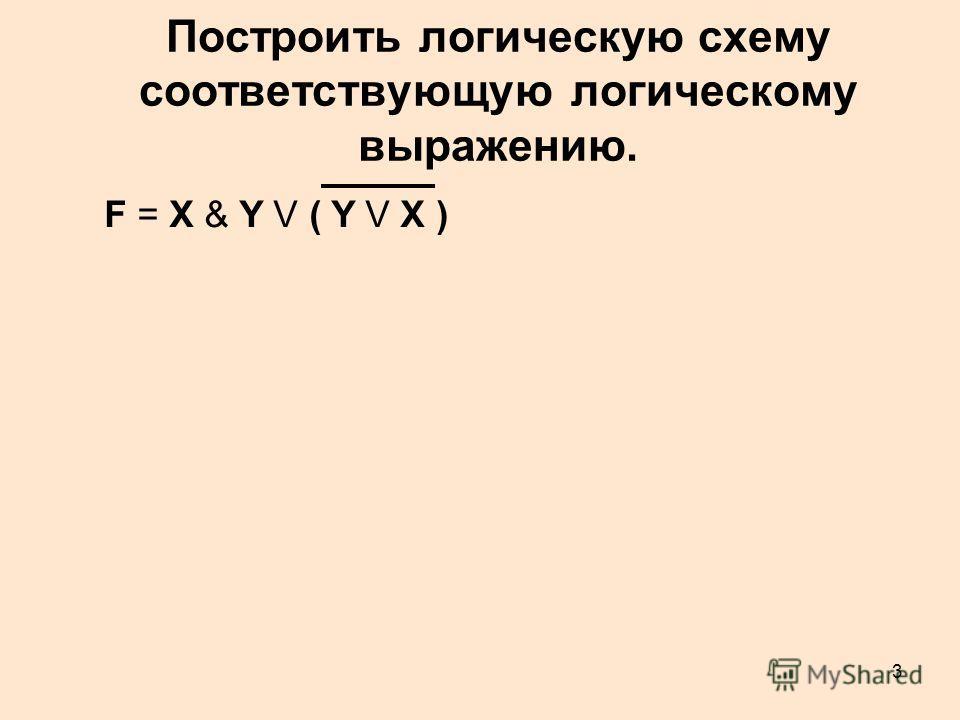3 Построить логическую схему соответствующую логическому выражению. F = X & Y V ( Y V X )