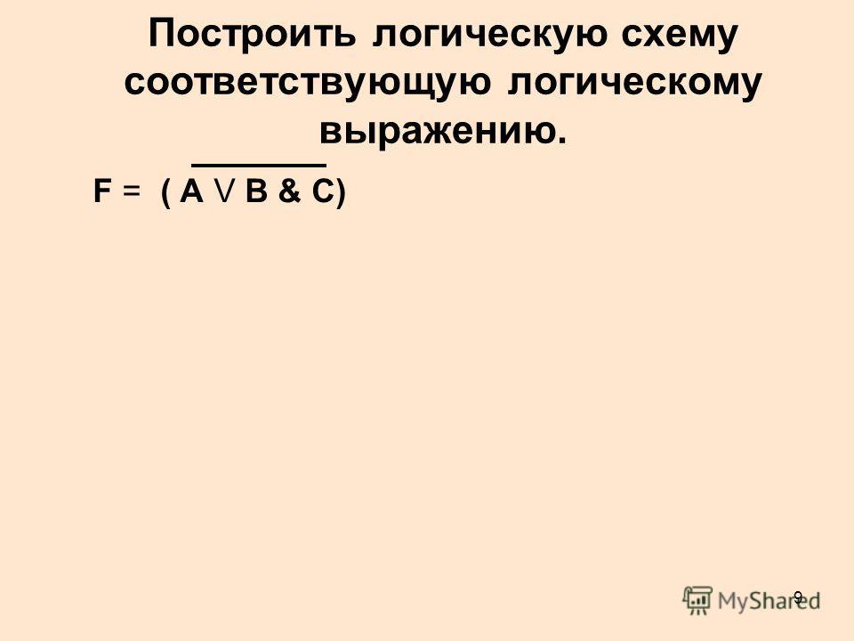 9 F = ( А V В & C)