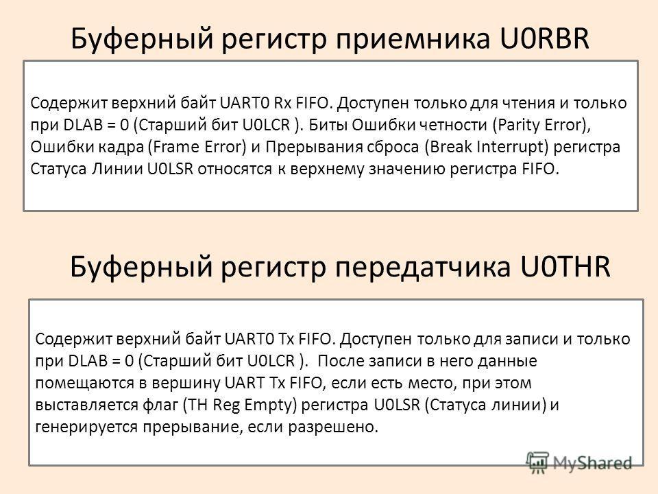 Буферный регистр приемника U0RBR Содержит верхний байт UART0 Rx FIFO. Доступен только для чтения и только при DLAB = 0 (Старший бит U0LCR ). Биты Ошибки четности (Parity Error), Ошибки кадра (Frame Error) и Прерывания сброса (Break Interrupt) регистр