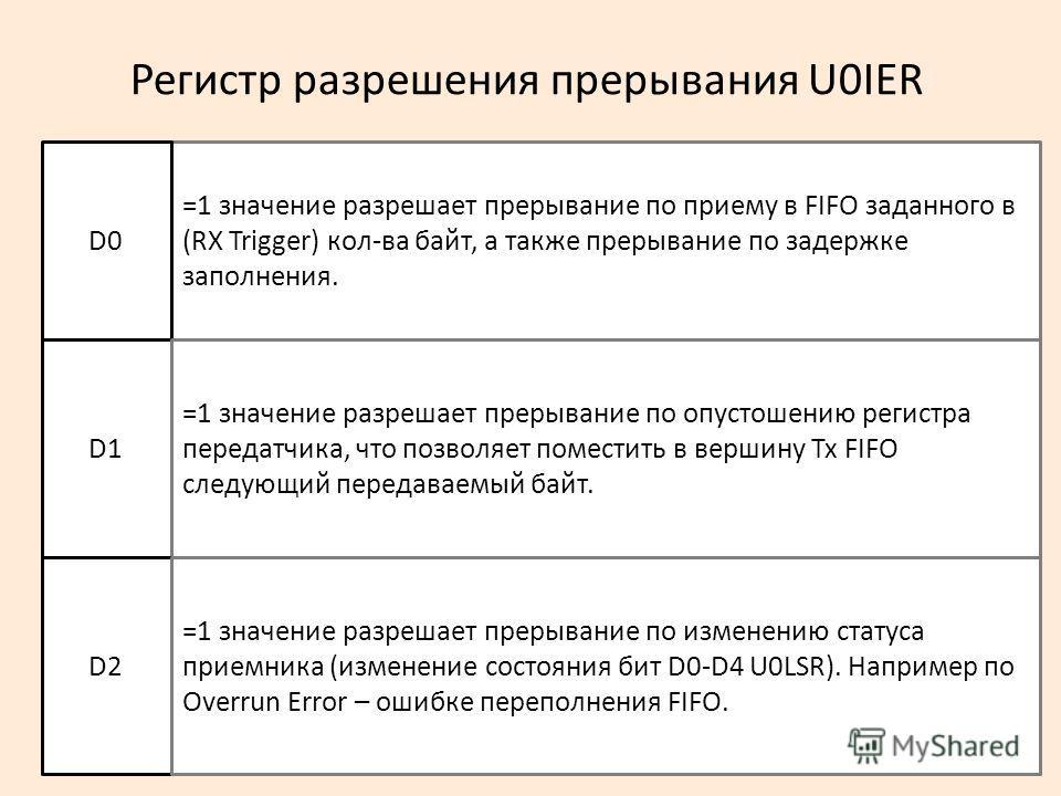 Регистр разрешения прерывания U0IER =1 значение разрешает прерывание по приему в FIFO заданного в (RX Trigger) кол-ва байт, а также прерывание по задержке заполнения. D0 D1 =1 значение разрешает прерывание по опустошению регистра передатчика, что поз