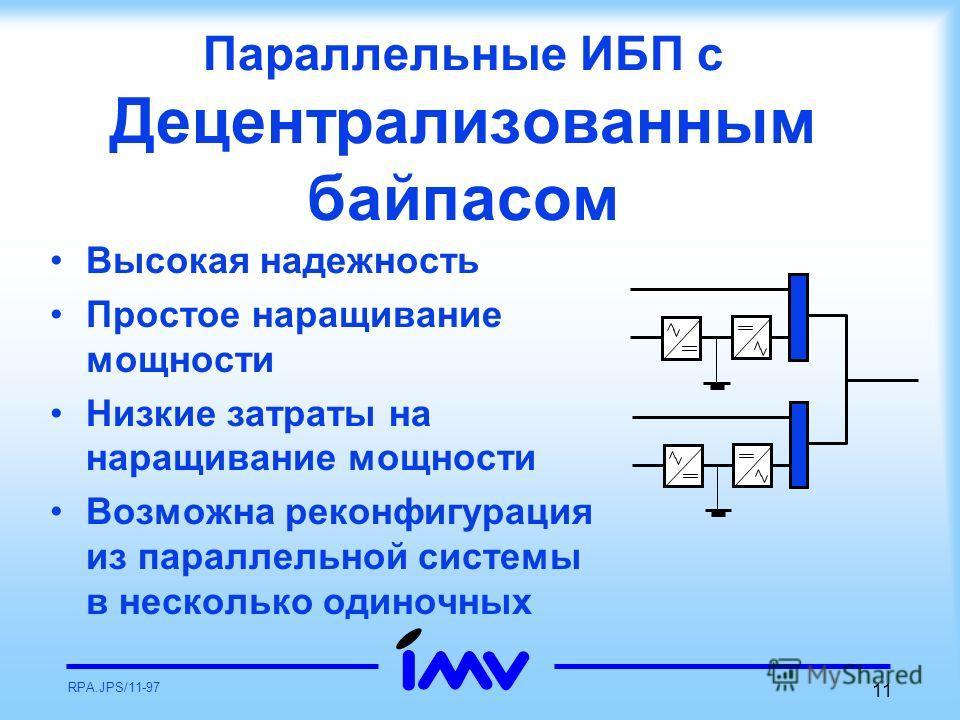 RPA.JPS/11-97 11 Параллельные ИБП с Децентрализованным байпасом Высокая надежность Простое наращивание мощности Низкие затраты на наращивание мощности Возможна реконфигурация из параллельной системы в несколько одиночных