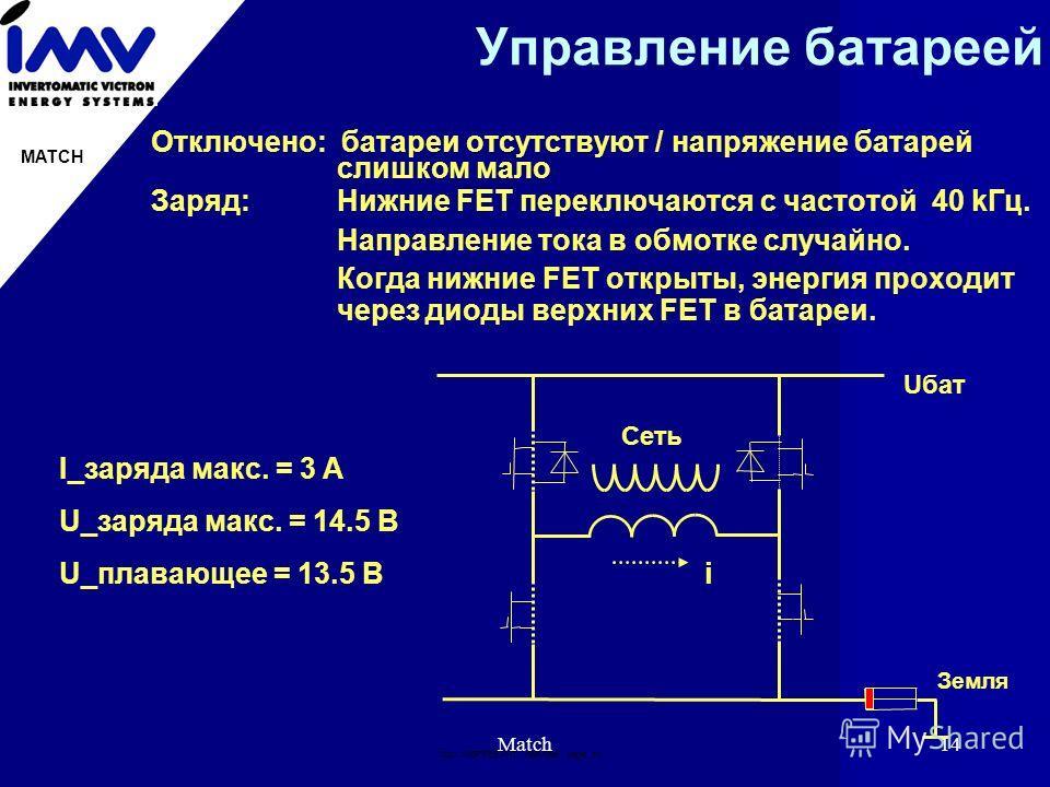 Doc: IMВPRES.PPT 19951996 page: 14 MATCH Match14 Управление батареей Отключено: батареи отсутствуют / напряжение батарей слишком мало Заряд: Нижние FET переключаются с частотой 40 kГц. Направление тока в обмотке случайно. Когда нижние FET открыты, эн