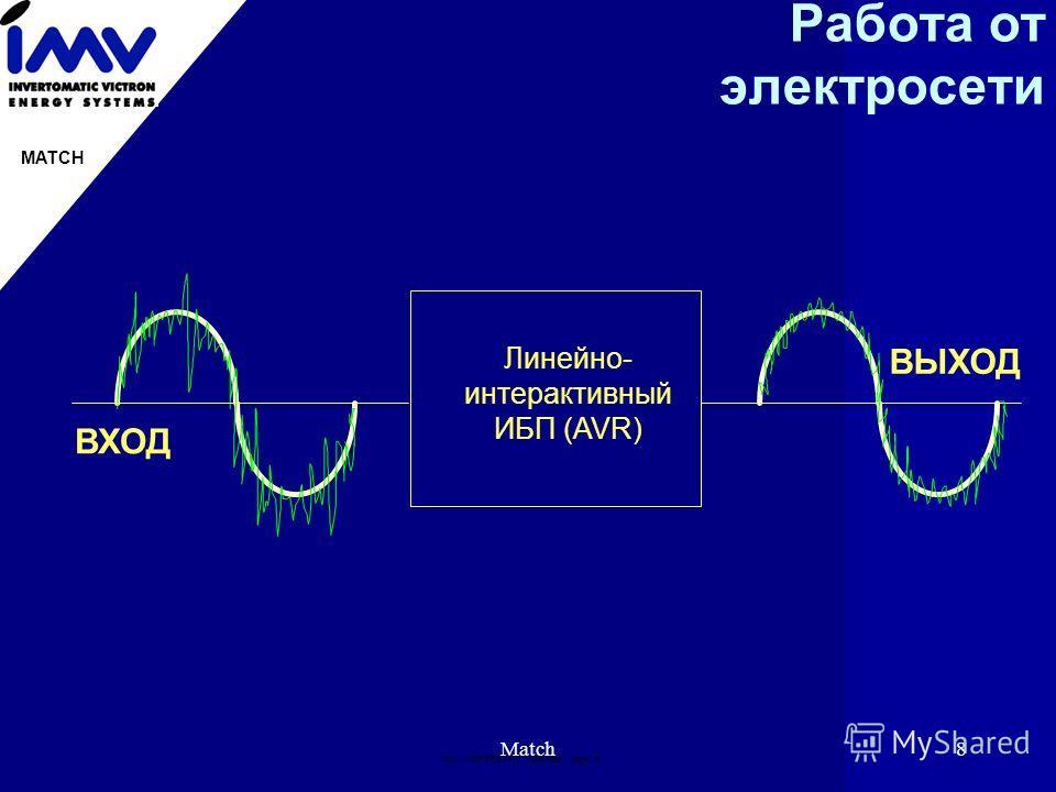 Doc: IMВPRES.PPT 19951996 page: 8 MATCH Match8 Работа от электросети Линейно- интерактивный ИБП (AVR) ВХОД ВЫХОД