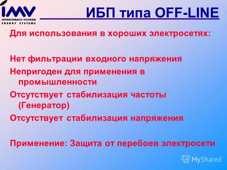 Перебой электросети ИБП типа OFF-LINE