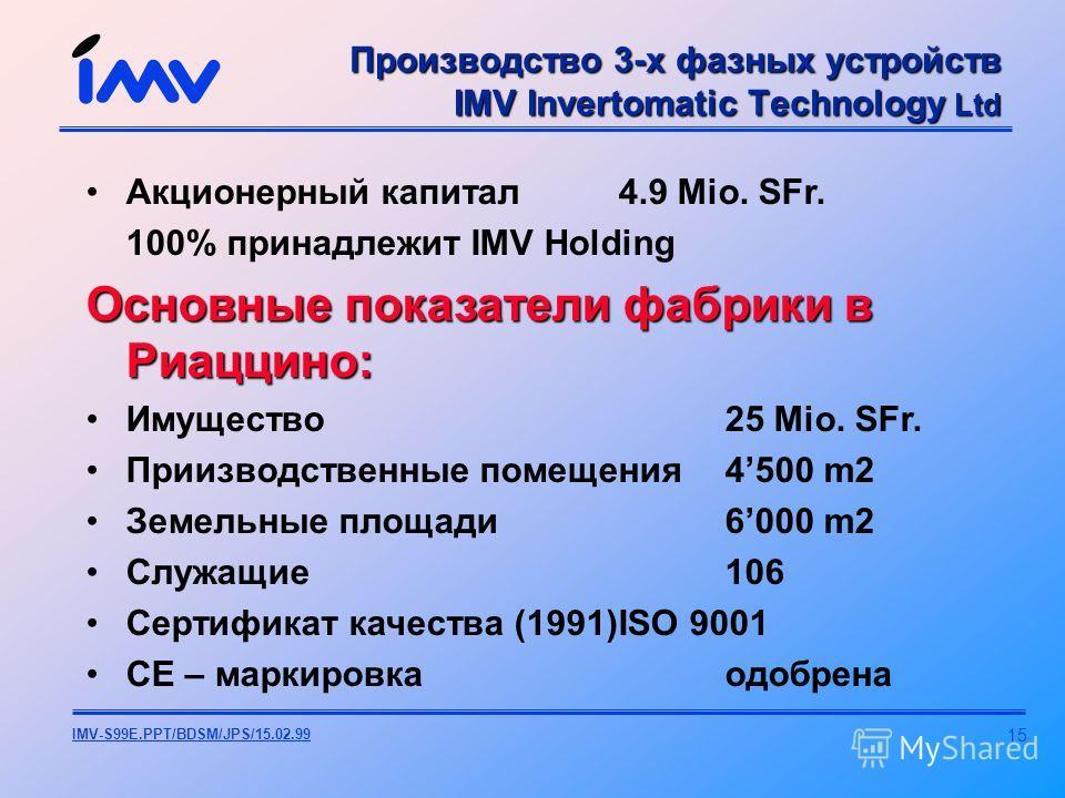 15 IMV-S99E.PPT/BDSM/JPS/15.02.99 Акционерный капитал4.9 Mio. SFr. 100% принадлежит IMV Holding Основные показатели фабрики в Риаццино: Имущество25 Mio. SFr. Приизводственные помещения4500 m2 Земельные площади6000 m2 Служащие 106 Сертификат качества