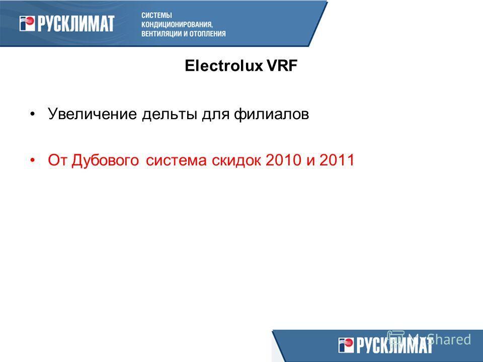 Electrolux VRF Увеличение дельты для филиалов От Дубового система скидок 2010 и 2011