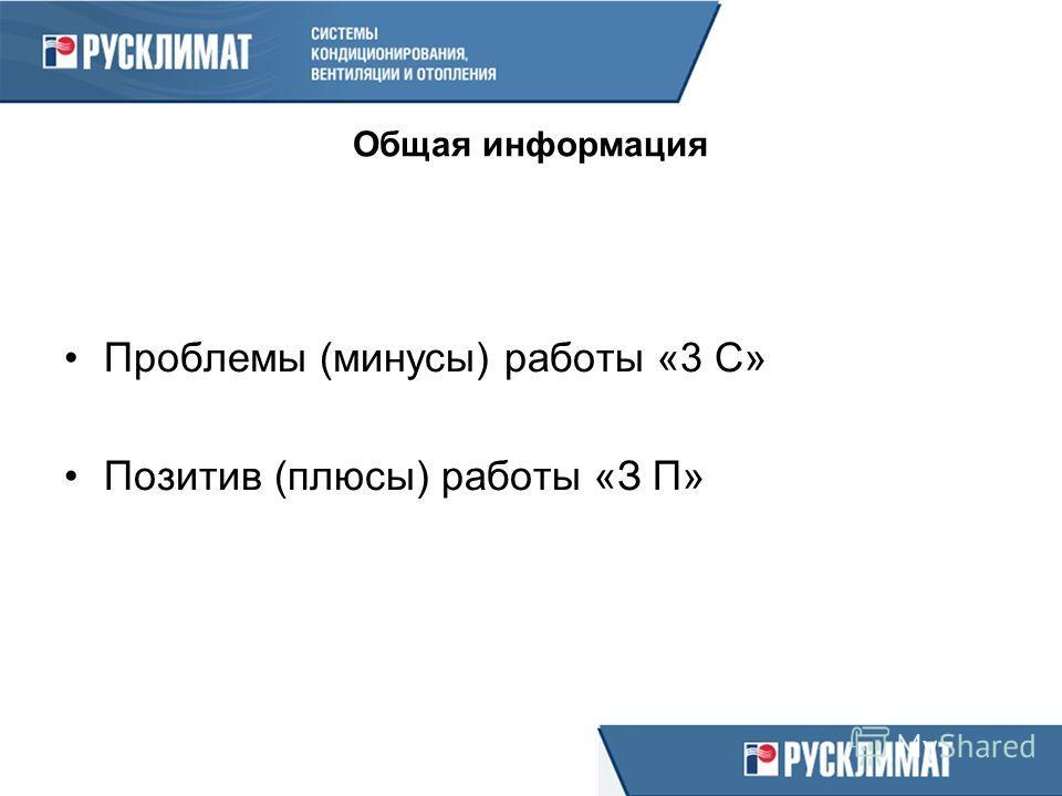 Общая информация Проблемы (минусы) работы «3 С» Позитив (плюсы) работы «З П»