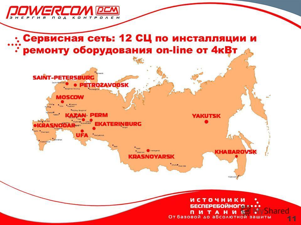 11 Сервисная сеть: 12 СЦ по инсталляции и ремонту оборудования on-line от 4кВт