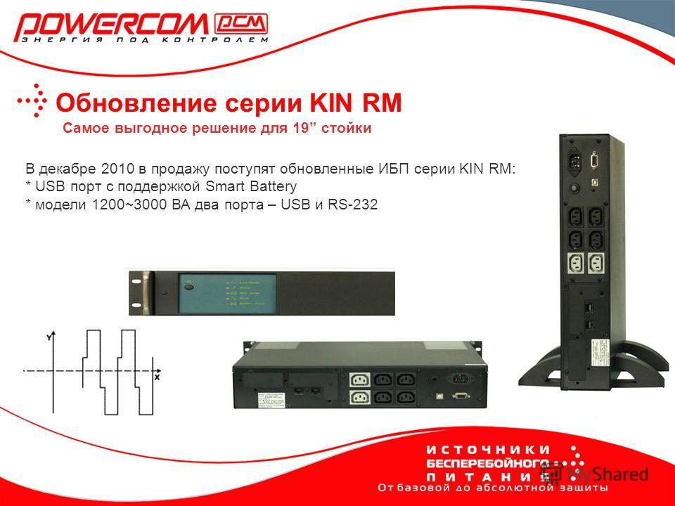 Обновление серии KIN RM В декабре 2010 в продажу поступят обновленные ИБП серии KIN RM: * USB порт с поддержкой Smart Battery * модели 1200~3000 ВА два порта – USB и RS-232 Самое выгодное решение для 19 стойки