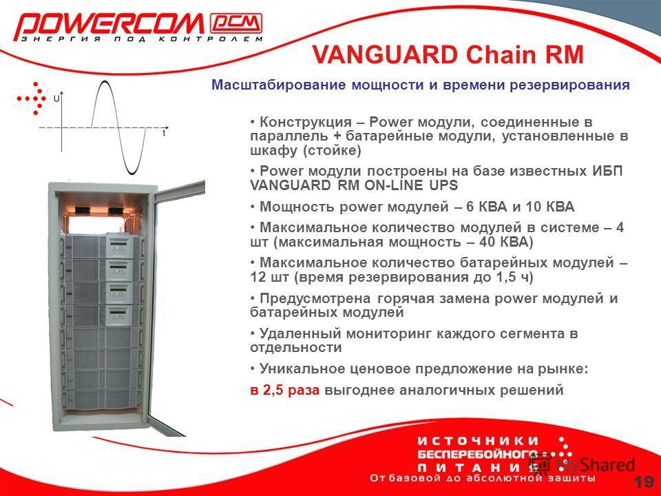 VANGUARD Chain RM 19 Масштабирование мощности и времени резервирования Конструкция – Power модули, соединенные в параллель + батарейные модули, установленные в шкафу (стойке) Power модули построены на базе известных ИБП VANGUARD RM ON-LINE UPS Мощнос
