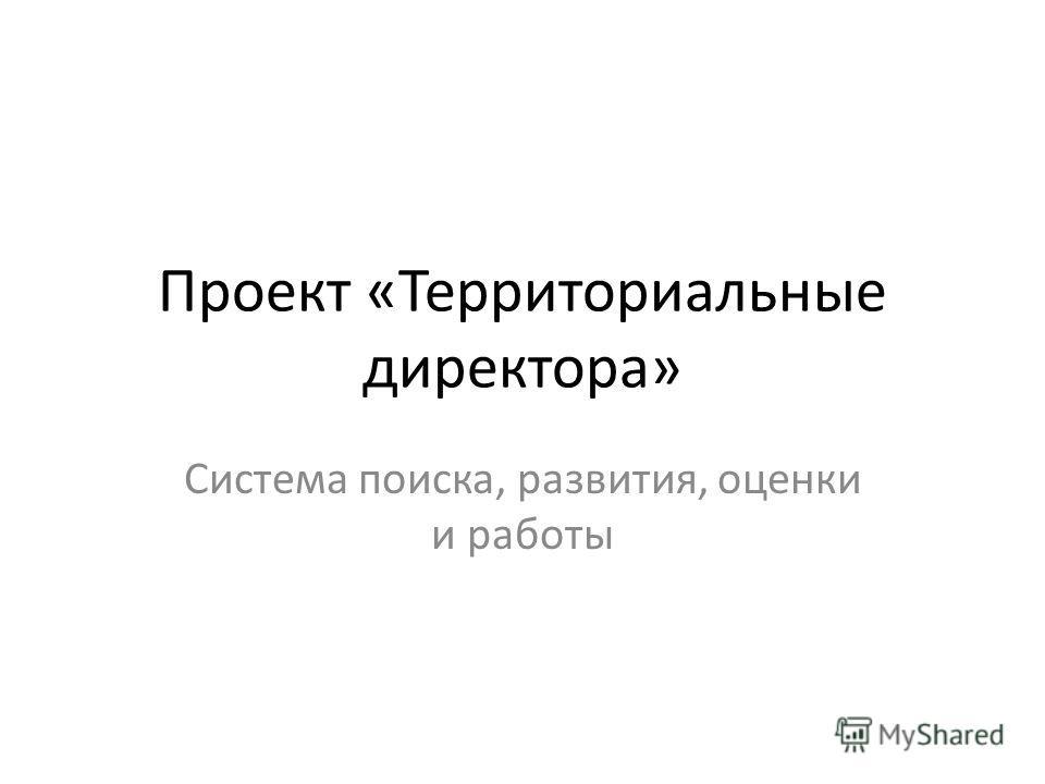 Проект «Территориальные директора» Система поиска, развития, оценки и работы
