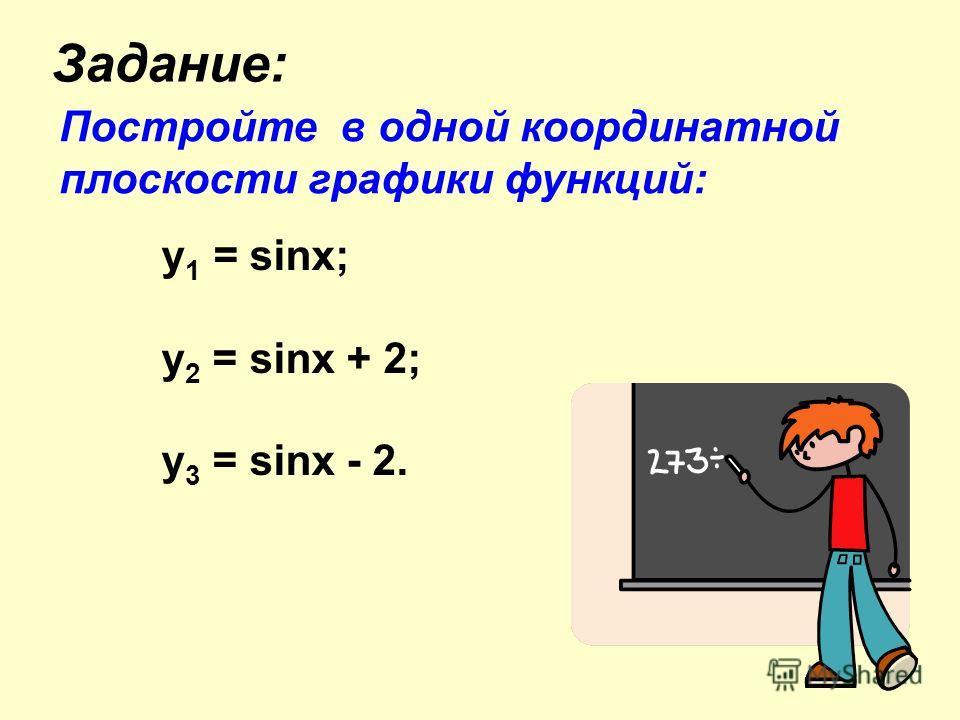 Задание: Постройте в одной координатной плоскости графики функций: y 1 = sinx; у 2 = sinx + 2; у 3 = sinx - 2.