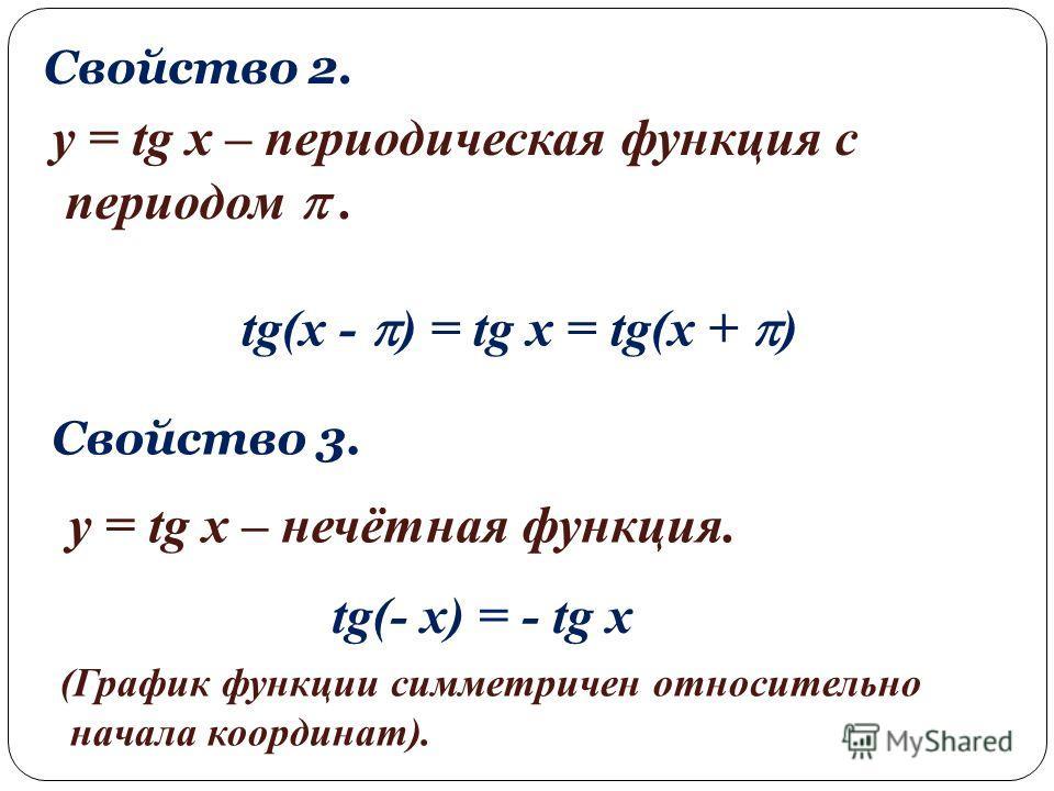 Свойство 2. y = tg x – периодическая функция с периодом. tg(x - ) = tg x = tg(x + ) Свойство 3. y = tg x – нечётная функция. tg(- x) = - tg x (График функции симметричен относительно начала координат).