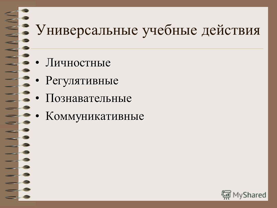 Универсальные учебные действия ЛичностныеЛичностные РегулятивныеРегулятивные ПознавательныеПознавательные КоммуникативныеКоммуникативные