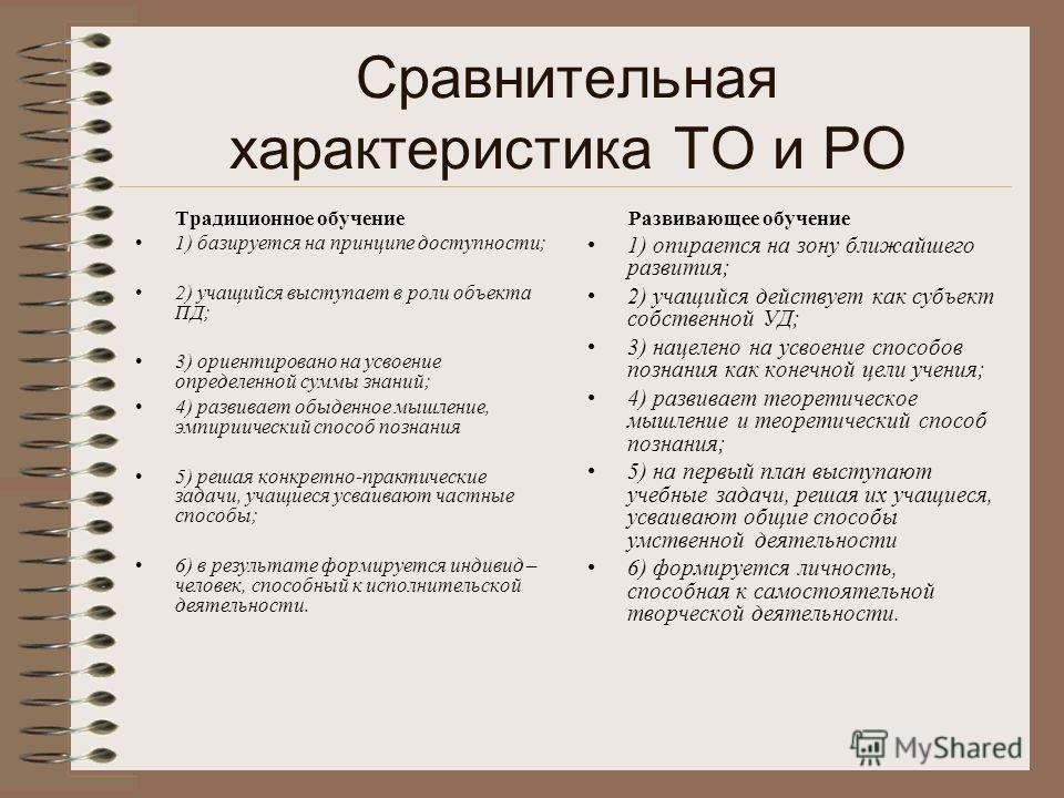Сравнительная характеристика ТО и РО Традиционное обучение 1) базируется на принципе доступности; 2) учащийся выступает в роли объекта ПД; 3) ориентировано на усвоение определенной суммы знаний; 4) развивает обыденное мышление, эмпириический способ п