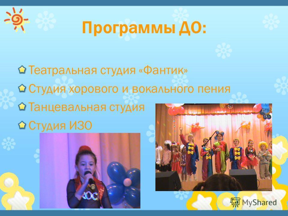 Театральная студия «Фантик» Студия хорового и вокального пения Танцевальная студия Студия ИЗО