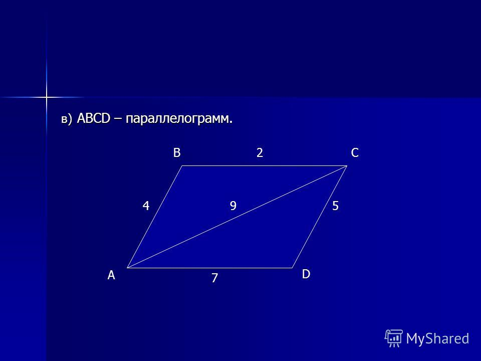в) ABCD – параллелограмм. A BC D 4 2 7 95