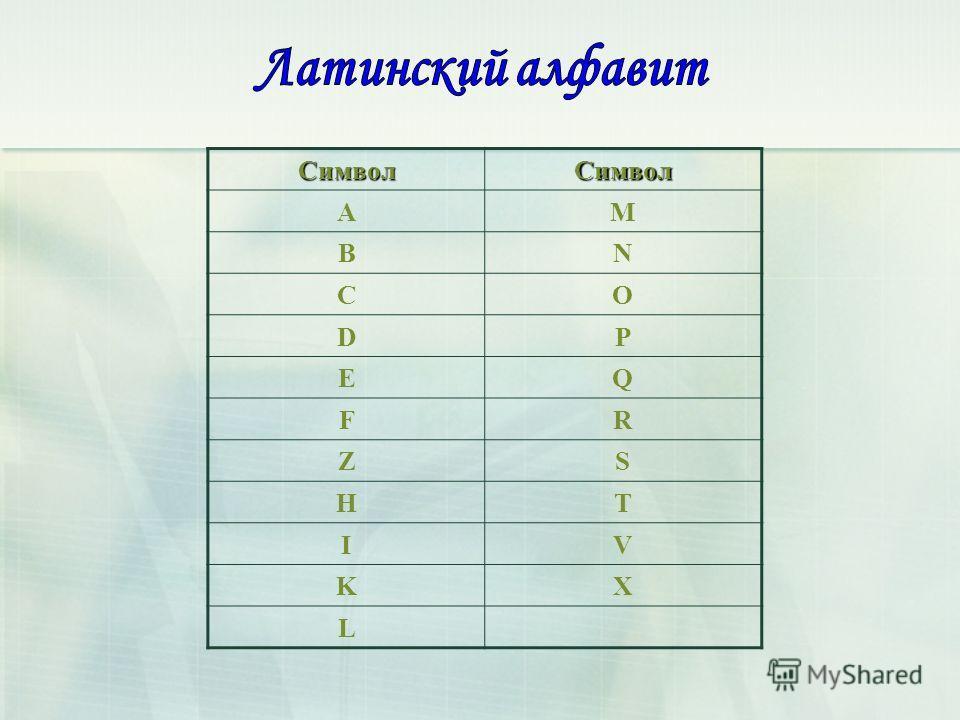 СимволСимвол AM BN CO DP EQ FR ZS HT IV KX L